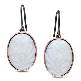 M by Miadora Bronzetone White Stone Dangle Earrings