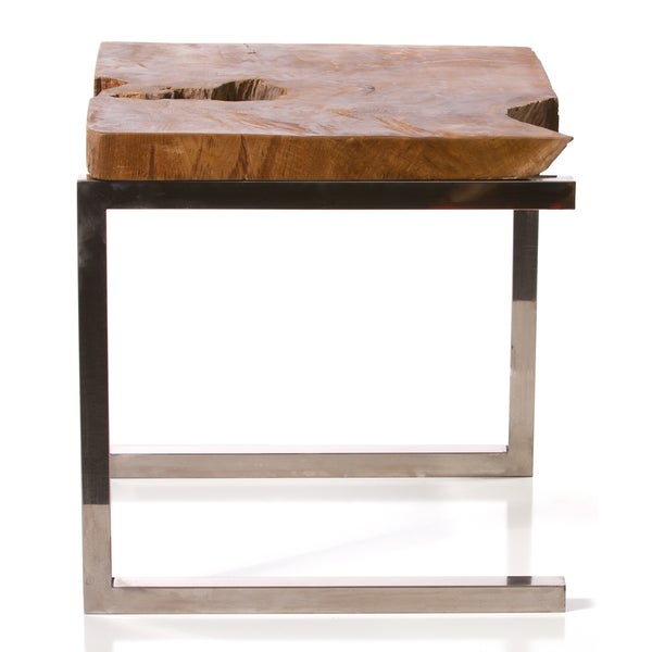 Tree Top End Table with Chrome Legs