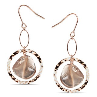 Miadora Goldtone Smokey Quartz Dangle Earrings