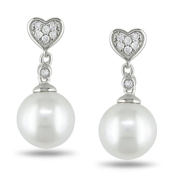 Miadora Sterling Silver Pearl and 1/10ct TDW Diamond Earrings (I-J, I2-I3)