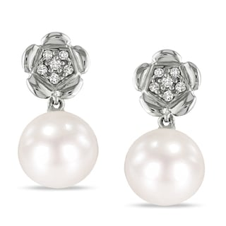 Miadora Sterling Silver Pearl and Diamond Flower Earrings