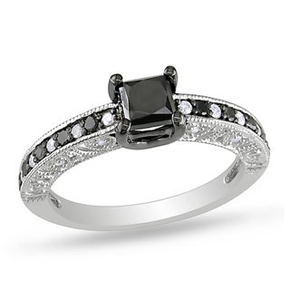 Miadora Sterling Silver 1ct TDW Black and White Diamond Ring
