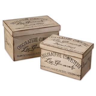 Chocolaterie Decorative Wood Boxes (Set of 2)