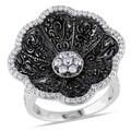 Miadora 14k Gold 1/2ct TDW Black Diamond Floral Cocktail Ring