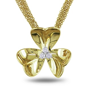 Miadora Signature Collection  Miadora 14k Yellow Gold 1/5ct TDW Diamond Flower Necklace (G-H, SI1-SI2)