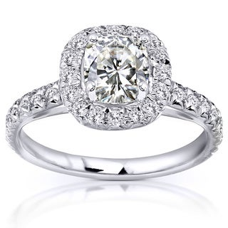 Annello 14k White Gold Cushion Moissanite and 2/5ct TDW Diamond Engagement Ring (G-H, I1-I2)