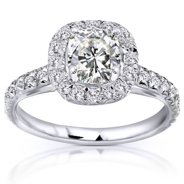 Annello 14k White Gold Cushion Moissanite and 2/5ct TDW Diamond Engagement Ring (G-H, I1-I2)