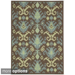 Nourison Vista Ikat Brown Rug