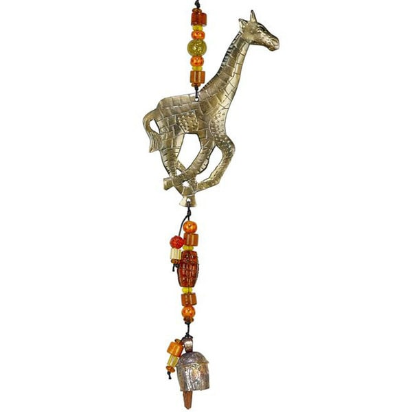 Handmade Smokey Giraffe Wind Chime (India) 10371502