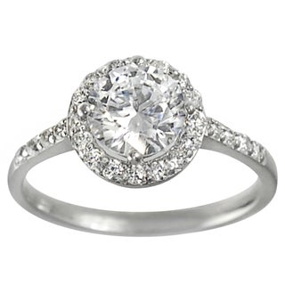 Tressa Collection Silver Round-cut Cubic Zirconia Bridal-style Ring