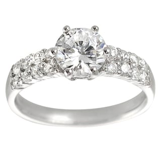 Tressa Collection Sterling Silver Round-cut White CZ Bridal-style Ring