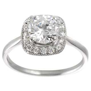 Tressa Collection Sterling Silver Round-cut CZ Traditional Bridal-style Ring