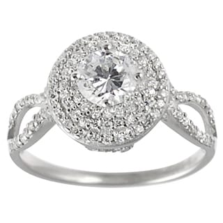 Tressa Collection Sterling Silver Round-cut CZ Bridal-style Ring