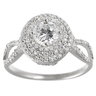 Tressa Collection Sterling Silver Basket-set Round-cut CZ Bridal-style Ring