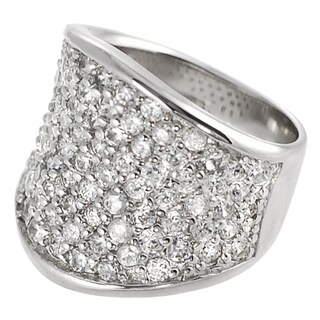 Tressa Collection Sterling Silver CZ Concave Pave Ring