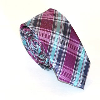 Skinny Tie Madness Men's Purple Plaid Polyester Skinny Tie