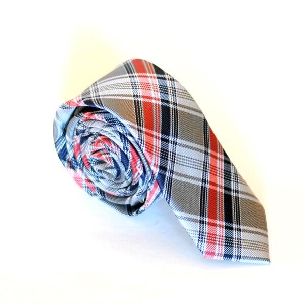 Skinny Tie Madness Men's Grey Plaid Skinny Tie