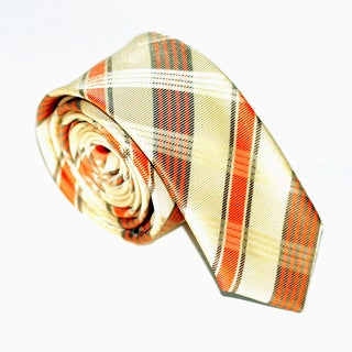 Skinny Tie Madness Men's Gold/ Orange Plaid Skinny Tie
