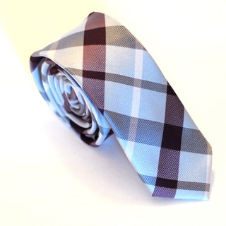 Skinny Tie Madness Men's Blue/ Burgandy Plaid Skinny Tie