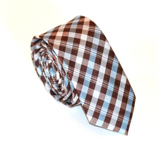 Skinny Tie Madness 100-Percent Polyester Men's Plaid Skinny Tie