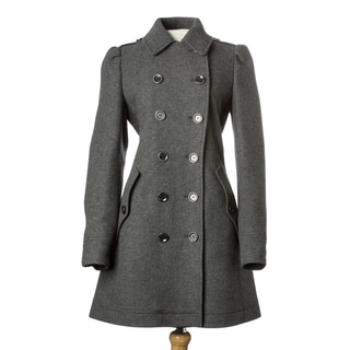 Burberry Brit Women's Grey Wool-blend Double-breasted Coat