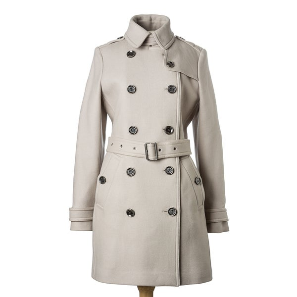 Burberry Brit Women's Dove Grey Wool Twill Mid-length Trench Coat