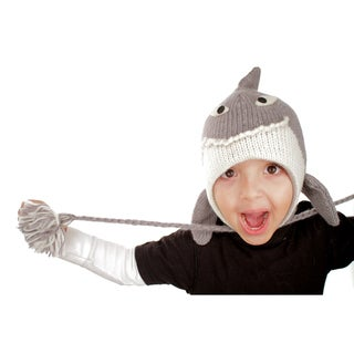 Boys' Hand-knit Wool Fleece-lined Shark Hat