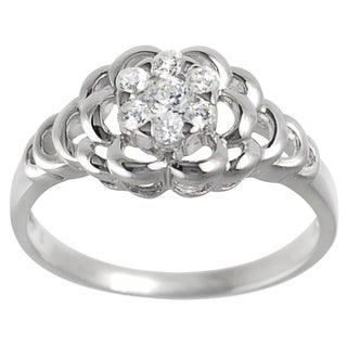 Tressa Collection Sterling Silver CZ Bridal-style Flower Ring