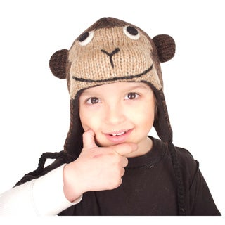 Hand-knit Wool Fleece-lined Monkey Hat