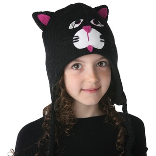 Hand-knit Wool Fleece-lined Cat Design Kids' Hat