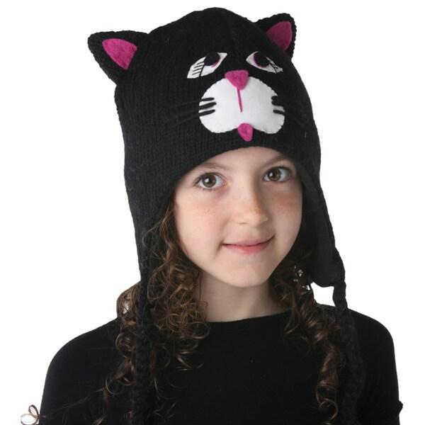 Hand-knit Wool Fleece-lined Cat Design Kids' Hat