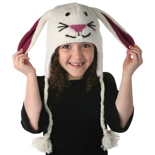 Hand-knit Wool Bunny Design Kids' Hat