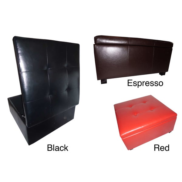 Contemporary Square Faux Leather Storage Ottoman Bench