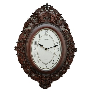 Fabulous Antique Linseng Brown Polyresin Wall Clock (27x19)