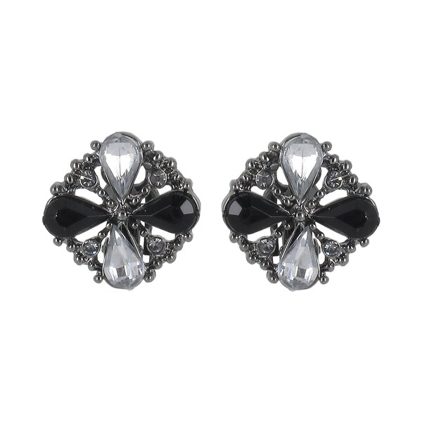 Roman Black-plated Black and Clear Crystal Clip-on Earrings