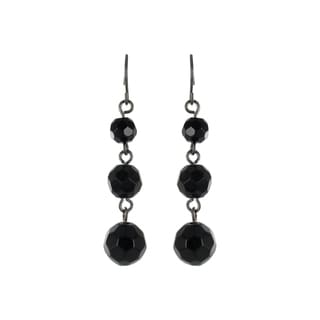 Roman Black-plated Faceted Black Crystal Bead Dangle Earrings