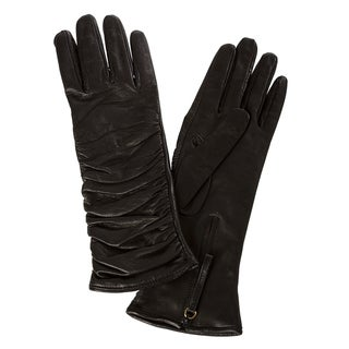 Prada Women&#39;s Ruched Black Lambskin Long Gloves