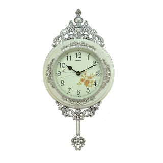 Fabulous Antique Linseng Wooden Pendulum White Wall Clock (24x15)