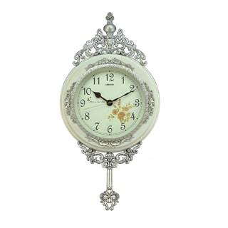 Fabulous Antique Linseng Wooden Pendulum White Wall Clock (24x15)