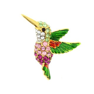 Goldtone Multi-colored Swarovski Crystal Hummingbird Brooch