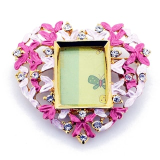 Goldtone Purple Crystal Pink Heart Picture Frame Brooch