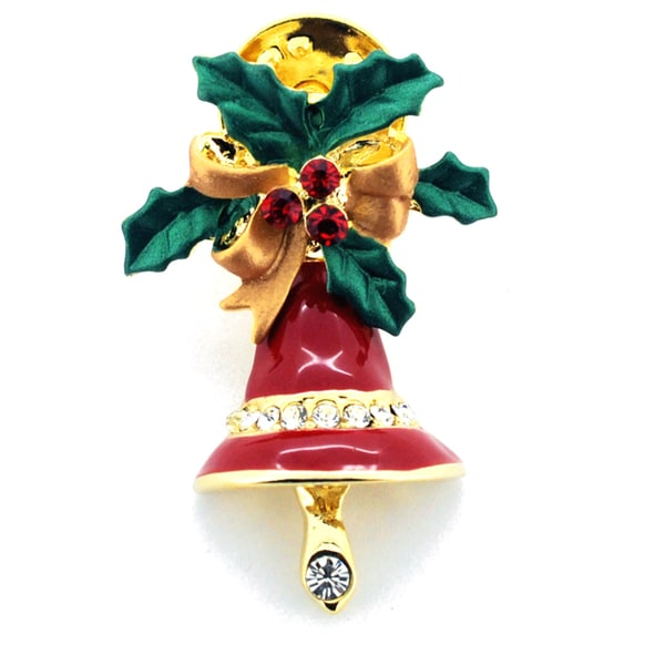 Goldtone Red and Clear Crystal Christmas Wreath and Bell Brooch