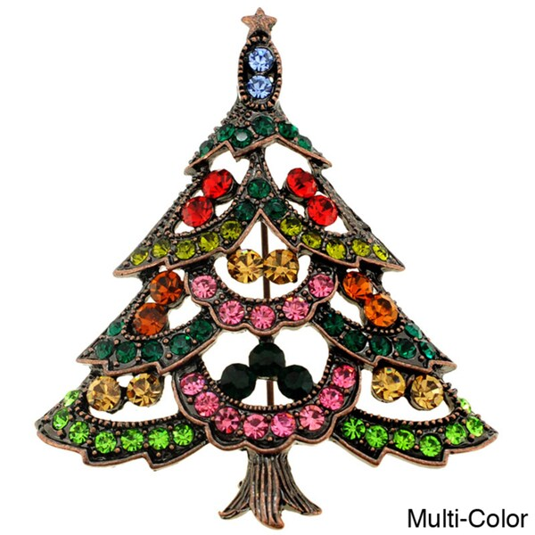 Goldtone Multicolored Swarovski Crystal Christmas Tree Brooch