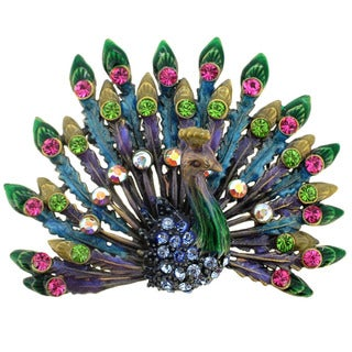 Goldtone Multi-colored Crystal Peacock Brooch
