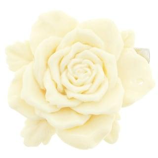 Silvertone White 3D Camellia Flower Brooch