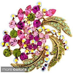 Goldtone Multi-colored Crystal Flower Brooch