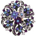 Silvertone Multi-colored Crystal Flower Bridal Brooch