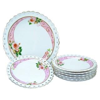 Golden Floral Design 7-Piece Ceramic Serving Plate Set