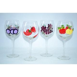 Fabulous Hand-painted Antique English Wine Glasses (Set of 4)