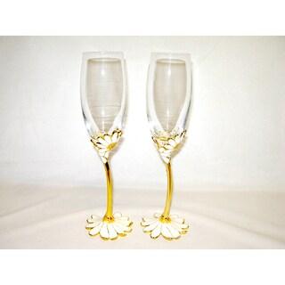 Italian Daisy Gold Rim White Flower Champagne Flutes (Set of 2)